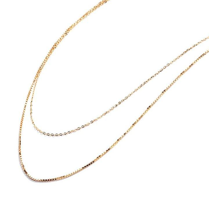 Gold plated double layers box chain 925 sterling silver choker necklace for women