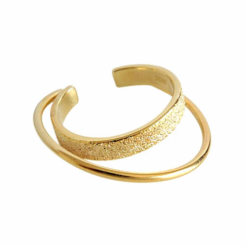 Delicated women fashion jewelry gold plated two lines open ring in 925 silver