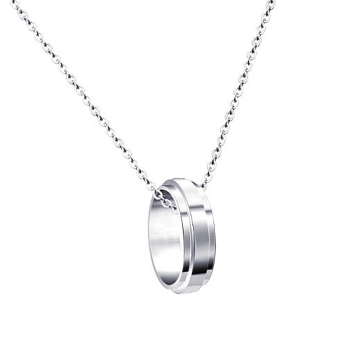925 sterling silver turn ring pendant OEM big circle necklace for women
