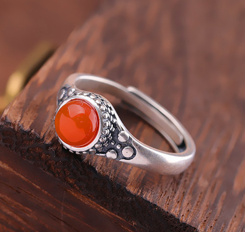 Antique 925 sterling silver and red agate stone ring for women adjustable vintage style oval stone rings gems jewellery wholesale online company
