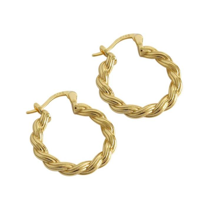 925 sterling silver twisted big circle earrings in gold plating for women