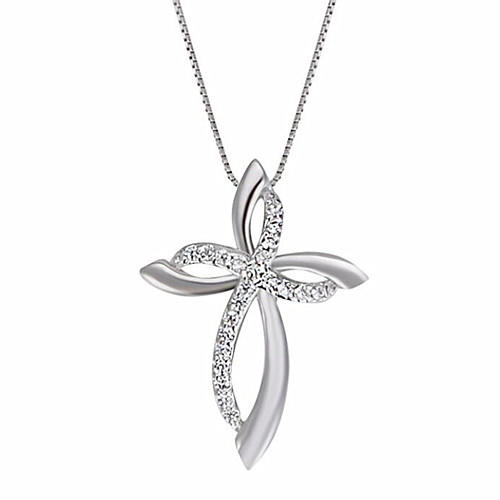 925 sterling silver simple eternity cross pendant diamond twist necklace for girls body jewelry wholesale