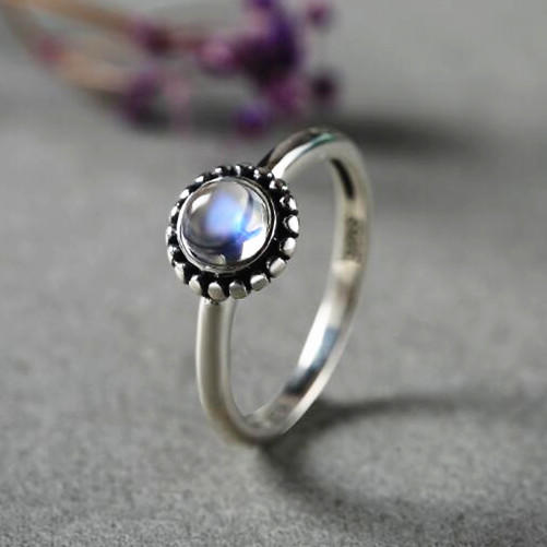 High quality natural moonstone engagement rings for women 925 sterling silver gemstone ring band