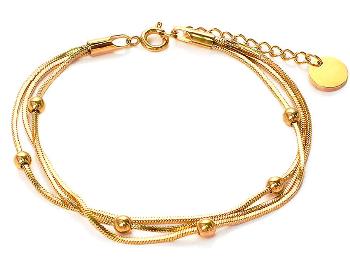 Gold plated multi-layered beaded bracelet women snake chain wholesale