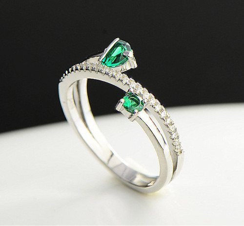 Open design twist double stone engagement ring with diamonds 925 sterling silver green quartz jewellery wholesale online dropship jewelry companies