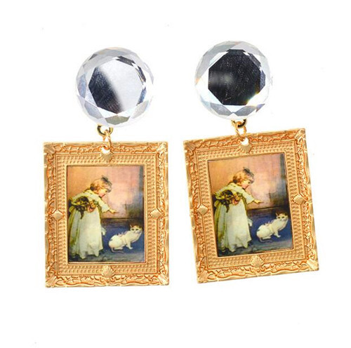 Oil painting earrings with white zircon wholesale artwork drawing diamond jewellery