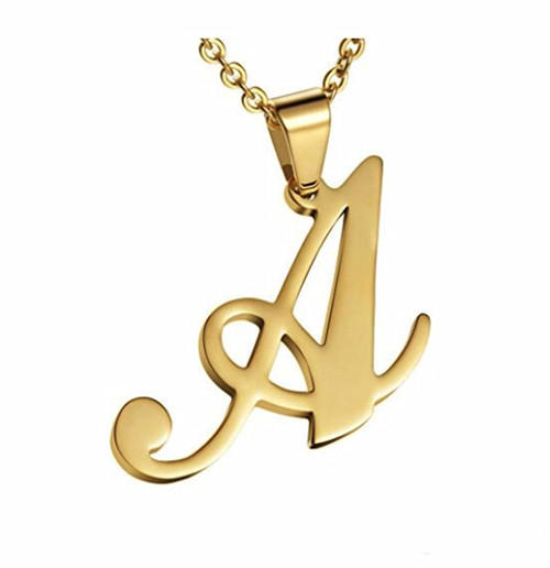 Gold personalized name and initial necklaces custom made initial jewelry name pendant necklace