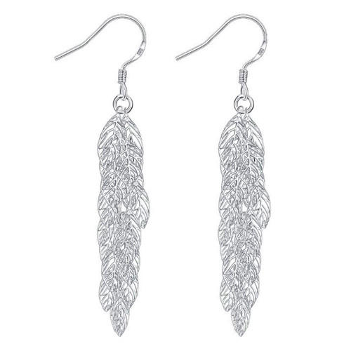 Silver long tassels fine jewelry OEM big leaf dangling drop hook earrings for women