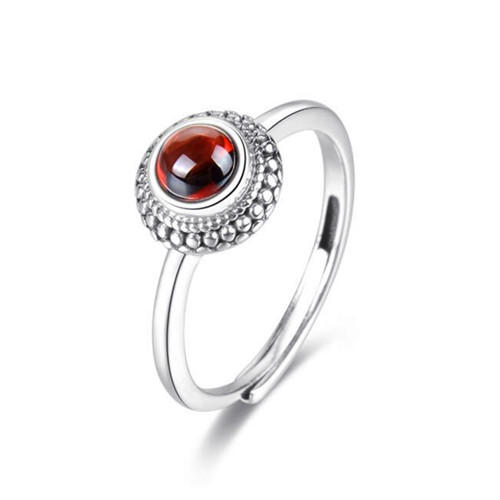 Handmade modern garnet stone jewelry red garnet flower dress ring sterling silver dainty eternity love engagement finger rings wholesale gemstones jewelry online