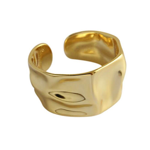 Chic style open design wide gold plated uneven rings in sterling silver