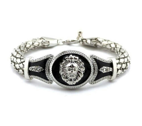 Mens jewellery wholesale snake chain bracelet lion head diamond oil paint charm cuff bangles supplier china