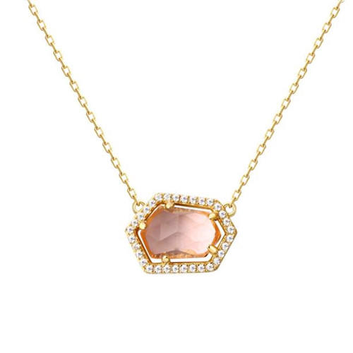 Irregularly shaped crystal jewelry natural rose quartz silver necklace