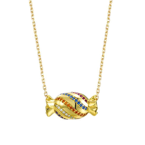 Rainbow candy silver pendant necklace 18K gold plated fashion jewelry