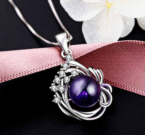 Sterling silver amethyst pendant necklace for women jewelry supplier chinaSterling silver amethyst pendant necklace for women jewelry supplier china