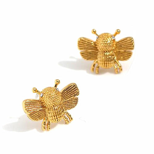 Fashion design gold plated jewelry delicate bee studs earrings for women