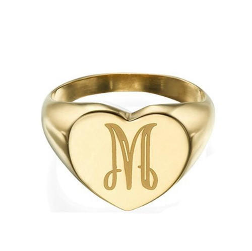 Customized name engraved signet photo ring jewelry photo jewelry wholesale gold initial rings photo jewelry ring