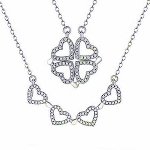 Heart shaped jewellery 925 sterling silver convertible necklace pendants four leaf clover pandent jewelry wholesale