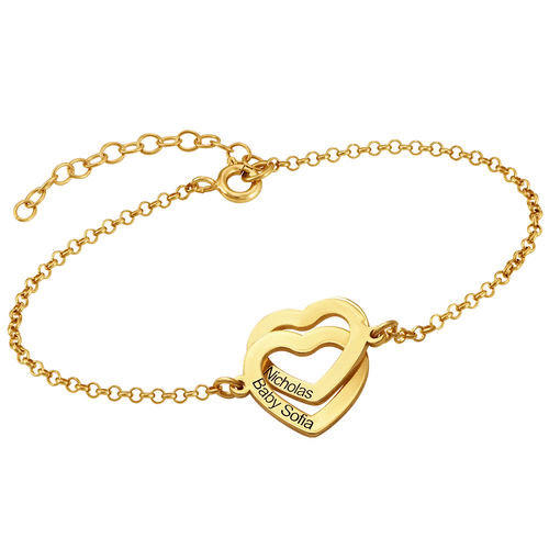 Name engraving two hearts bracelet charm with birthstone sterling silver personalized 2 piece heart ankle bracelets double heart shaped jewelry wholesale