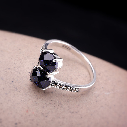 Modern open CZ finger ring with 2 stones 925 sterling silver delicate blue sandstone gems rings women fine jewellery