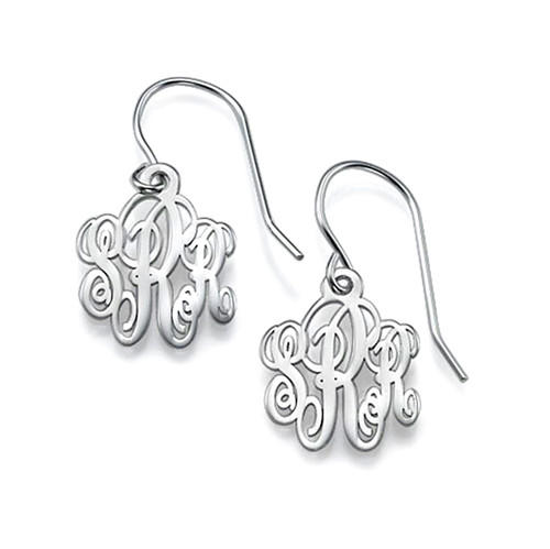 Monogram earrings studs sterling silver initial drop monogram earrings personalized 3 letters custom made with any inital women jewelry