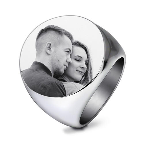 Personalized stainless steel round circle signet ring with photo custom made image name engraved rings