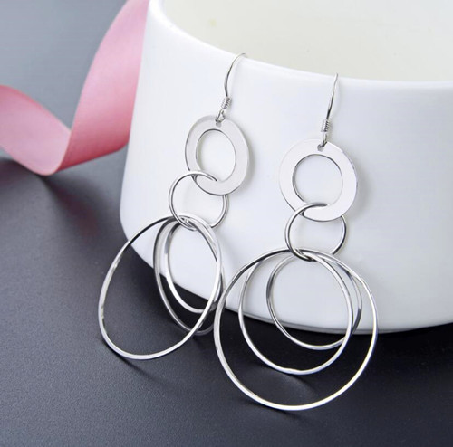 Large sterling silver dangle open circles earrings for girls circle jewelry website china