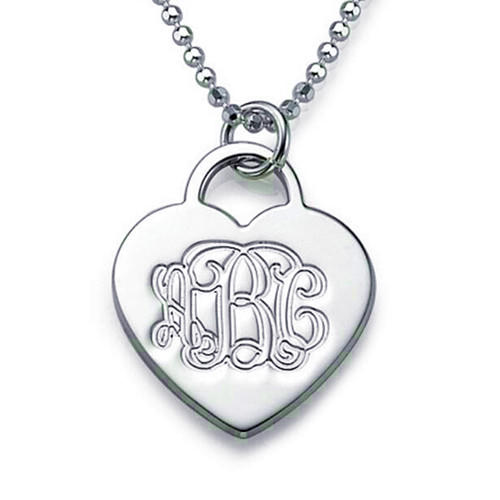 Monogram necklace heart charm jewelry in silver girlfriend gift