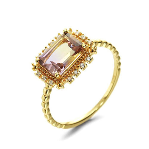 14k gold plated large square ametrine stone finger ring antique ametrine and diamond jewerlry 925 sterling silver band rings for women
