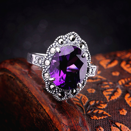 Vintage style large natural purple amethyst gem cocktail ring delicate big carved faceted stone rings for women 925 sterling silver jewelry