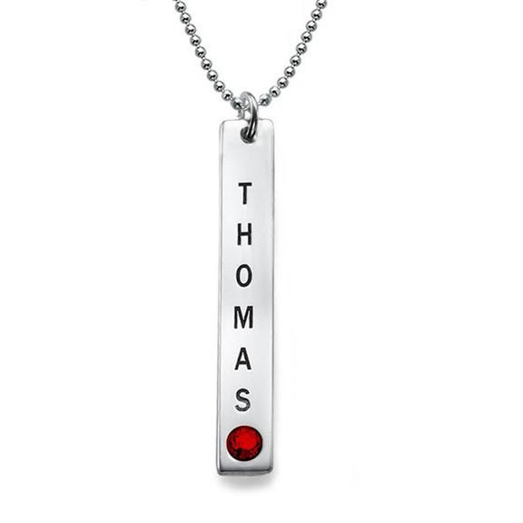 Gold silver custom name engraved vertical bar necklace with birthstone for women