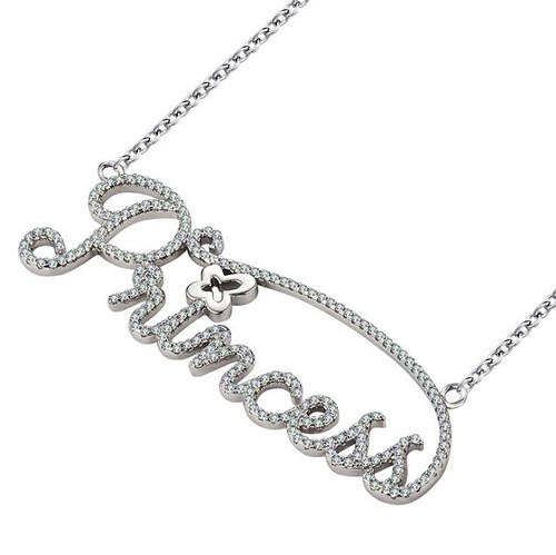 English letter princess pendant diamond necklace in 925 sterling silver