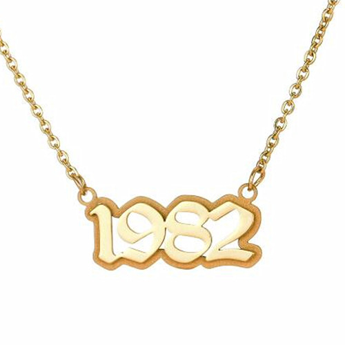 Creative design fashion jewels customized year and name plate necklaces