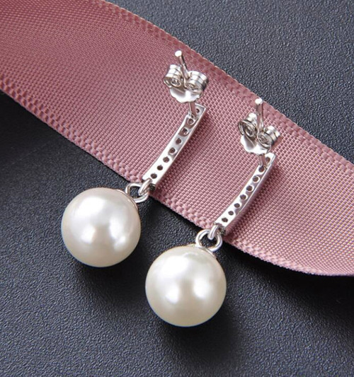 S925 sterling silver pearl earrings dangle pearl drop hoop earrings wholesale