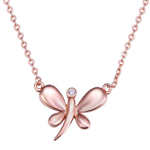 Rose gold plated unique dragonfly necklace in s925 sterling silver for women custom jewelry design wholesale