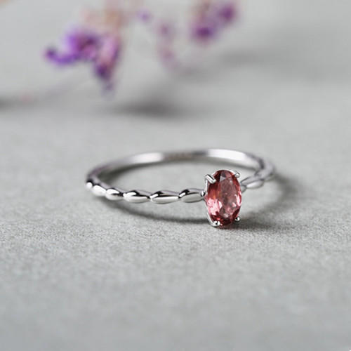 Vintage style natural pink tourmaline stone rings antique dainty gemstone eternity love engagement jewellery in sterling silver wholesale online jewelry dropshipping supplier china