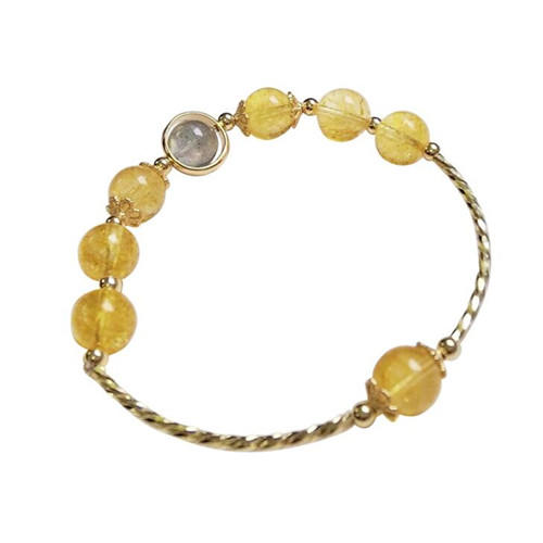 Golden rutilated quartz charm bracelet cuff bangle quality rutilated quartz bead bracelets jewelry supplies in sterling silver wholesale online dropship china