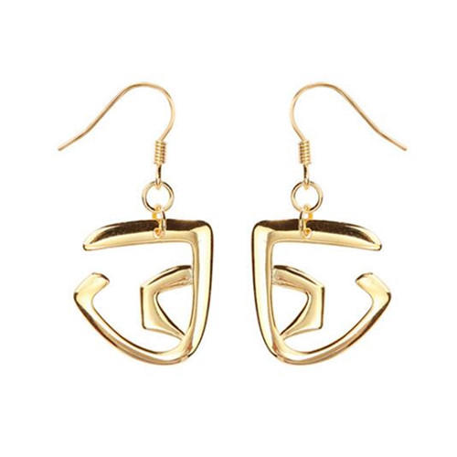 Gold color 925 sterling silver fine jewels French hook dangle earrings