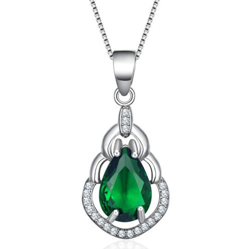 Rhodium plating green quart pendant s925 sterling silver green cubic zirconia necklace wholesale