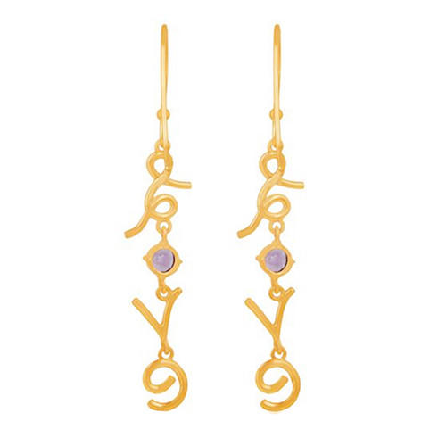 Women dangling gold plated english name earrings with birthstone nameplate jewelry wholesale
