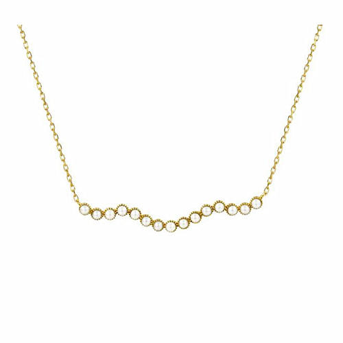 14K gold fresh water pearl wave pendant dainty sterling silver necklace