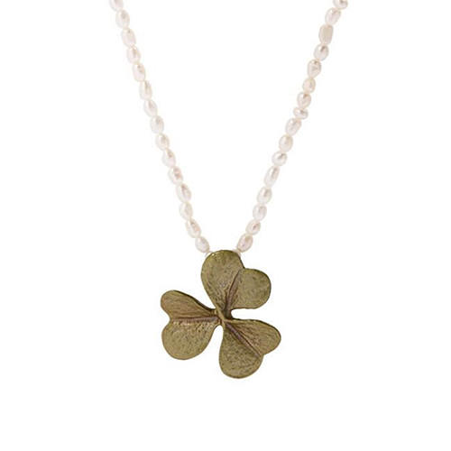 Unique design three-leaved clover jewelry vintage style pearl chain necklace
