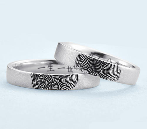 Memorial Jewelry name engraved wedding bands finger print name ring Father's day gift