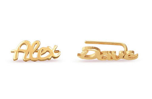18k gold stud earrings with your name personalized name earrings wholesale online china