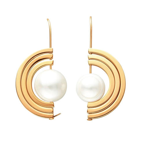 Trendy rotatable creative jewelry 18k gold plating half circle pearl earrings
