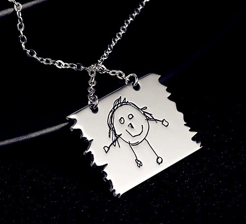 Handmade jewelry wholesale customized photo engraved necklace with painting