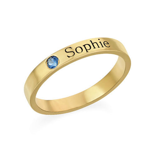 Personalized stacking name rings custom silver rings in gold plating