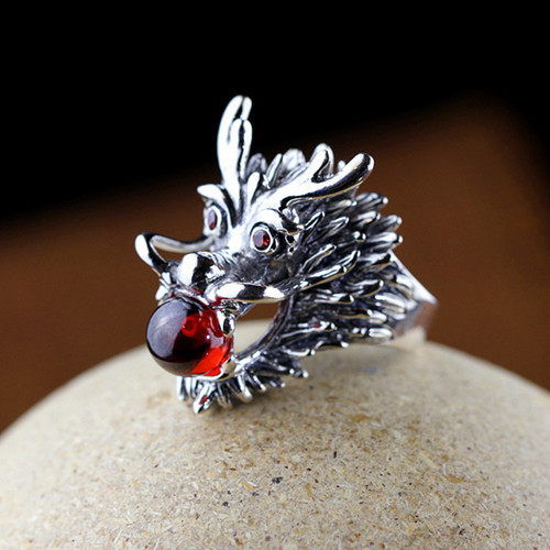 Mens dragon ring jewelry with gemstone 925 sterling silver red garnet stone finger rings for male
