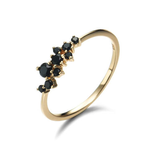 14k gold plated zircon fashion fine gemstone jewelry accessories antique black and white zircon stone cluster finger ring