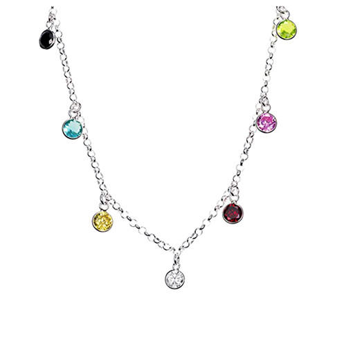 Personalized birthstone jewelry sterling silver colorful zircon pendant necklace wholesale