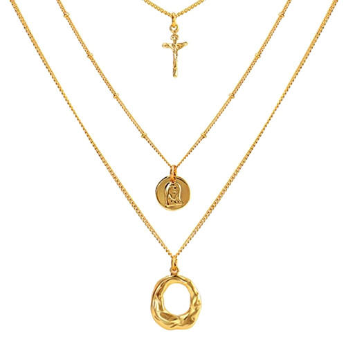Popular three layered necklace circle round tag pendant jewelry in gold plating